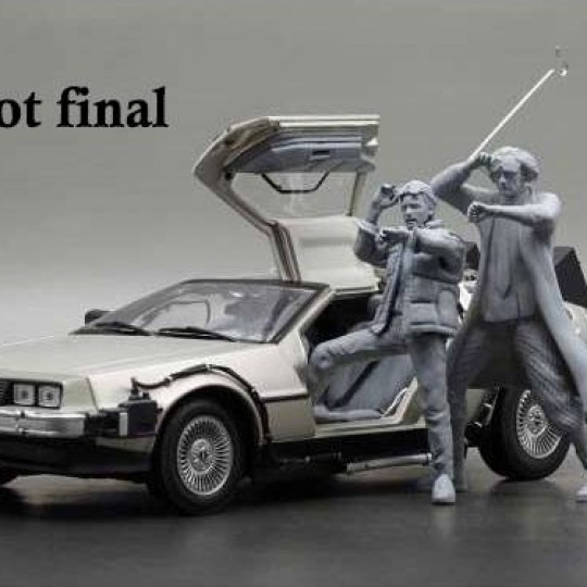 Back to the Future Diecast Model 1/18 1983 DeLorean with Figure Marty McFly / Dr. Emmett Brown