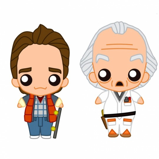 Back to the Future Pokis Rubber Minifigure Doc Brown / Marty McFly  6 cm