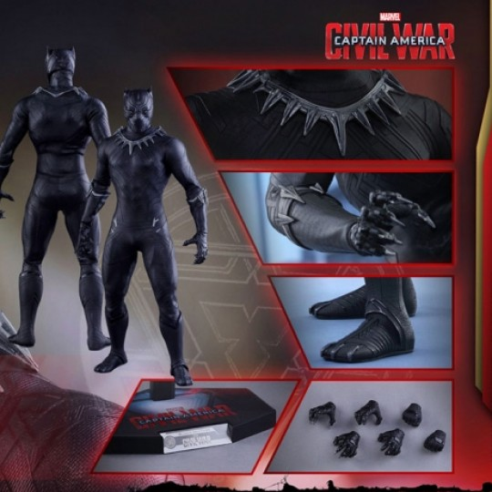 Captain America Civil War Movie Masterpiece Action Figure 1/6 Black Panther 31 cm