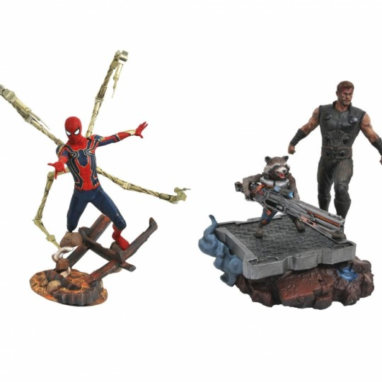 Avengers Infinity War Marvel Premier Collection Statue Thor & Rocket Raccoon / Iron Spider-Man 30 cm